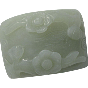 SALE Vintage Chinese Carved Flower Hetian Nephrite Jade Piece