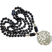 Gump's 50 inch Black Onyx Necklace with C1850 Chinese Hetian Nephrite Jade Pendant 14K Spacers