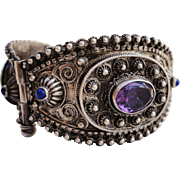 SALE European 800 Silver Cannetille Bangle Bracelet with Genuine Amethysts and Lapis Stones