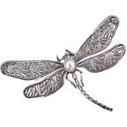 SOLD Chinese Export Sterling Dragonfly Brooch With Cultured Pearl Citrine Eyes
