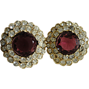SALE Vintage C1970s Kenneth Lane Kenneth J. Lane (KJL) Large Rhinestone Earrings