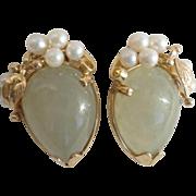 Vintage Ming's of Honolulu Water Jade Cultured Pearl 14K Yellow Gold Earrings