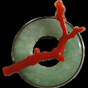 SALE Vintage Sterling Silver Jadeite Jade Blood Red Mediterranean Coral Brooch with Pendant