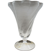 "Elegant Lalique ""Lucie"" Frosted Lead Crystal Shell Design Trumpet Vase"