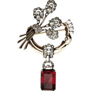 SOLD Early Signed Mazer Large Flower Boquet Rhinestone Brooch with Large Garnet Red Crystal Da