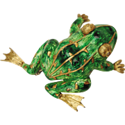 Awesome Designer 18K Yellow Gold Diamond & Enamel Frog Brooch