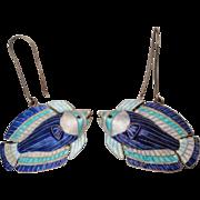 Art Deco Chinese Sterling Silver Blue White Enamel Angel Fish Earrings