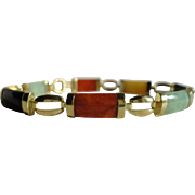 SALE Designer 14K Yellow Gold Multi Colored Jade Bracelet, 7 1/2 inches
