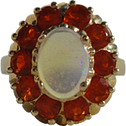 SALE Designer 14K Yellow Gold Jelly Opal Fire Opal Halo Ring Size 5