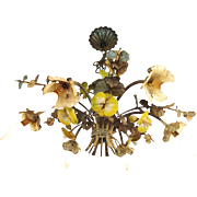 Italian Tole Chandelier Enamel Yellow Pansies Six-Light chandelier Fixture Shabby Chic French