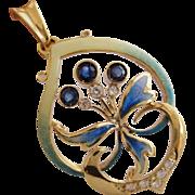 Iconic Art Nouveau 18K Yellow Gold Sapphire Diamonds Pendant with Enamel