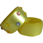 Awesome Pair 1970's Moonglow Lucite Yellow Bangles with Colorful Cabochons