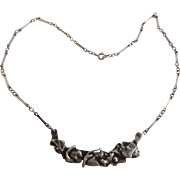 Brutalist Artisan Handcrafted Sterling Silver Necklace Mid Century Modern