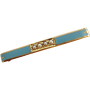 Vintage 14k Yellow Gold Blue Enamel Seed Pearl Baby or lingerie Bar Pin
