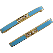 Vintage Pair 14k Yellow Gold Sky Blue Enamel Seed Pearl Baby Lingerie Bar Pin Brooch