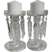 SALE Brilliant Antique French Cut Crystal Lusters Mantle Candle Holders Pair with Spear Head P