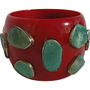 Bold Mid Century Red Lucite Bangle with Genuine Turquoise Stones Mounted on Sterling Silver