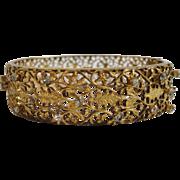 SALE Art Deco Filigree Gilt Rhinestone Bracelet