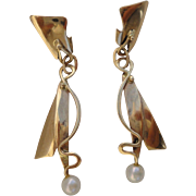 SALE Modernistic Designer Hand Crafted 14K Yellow Gold Cultured Pearls Long Dangle Earrings