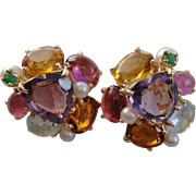 Colorful 14K Yellow Gold Amethyst, Pink Tourmaline, Emerald, Aquamarine, Cultured pearl and ..