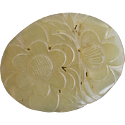 Chinese Floral Oval Hand Carved Pale Celadon Serpentine Art Deco Box Top Piece 2 3/4'' Long 2'