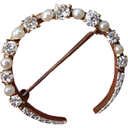 14K Yellow Gold Platinum Edwardian Diamond Natural Pearls Half Moon Pin Brooch