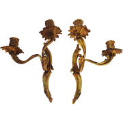 Beautiful Pair French Gilt Bronze Louis XV Wall Sconce Candleholders