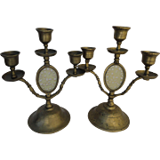 SOLD Stunning Pair Chinese Celadon Jade Serpentine Inlay Brass Candelabra Candlesticks Candle