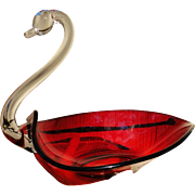 Elegant Duncan Miller Ruby Clear Glass Crystal Fruit Bowl Swan Dish Center Piece 12""