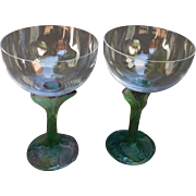Pair Nature by Daum France French Crystal Claret Glass Pate de Verre
