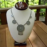 SALE Vintage Sterling Silver Necklace Mexico Aztec Calendar