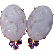 SALE Beautiful 14K Yellow Gold Carved Lavender Jadeite Jade Earrings Amethyst Accents