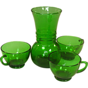 Anchor Hocking, Forest Green Group, Vase and Cups