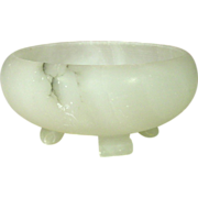 "Carved White Onyx Bowl, footed, 6"" x 2 5/8"", Italy"
