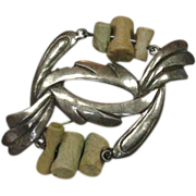 Unusual Pin, Sterling and Fossilized Bone, Nice Design