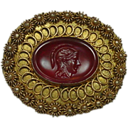 Molded Glass Pin/Pendant, Made in Greece, Early 20th Century