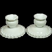 Fenton Silver Crest Candleholders, Pair