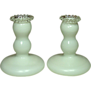 Fenton silver Crest, Candleholders, 1943-1954, Pair