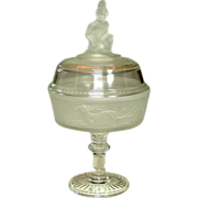 "EAPG Covered Compote, Westward Ho! pattern, 11.5"", 1879"