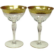 Tiffin Glass, Rambler Rose, Champagne / Tall Sherbet, Pair