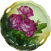 Handpainted, Artist Signed, Handled Server, Embossed Border, Red Roses, Antique