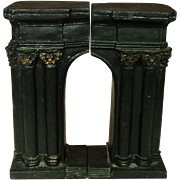 Early 20th Century Cast Iron Bookends, Arch Shape, Gilt Trim, 7.5""