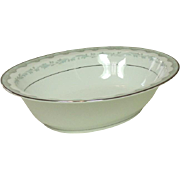 "Noritake China, Japan, #6243 Margaret Pattern, 10"" Oval Serving Bowl, 1961-1973"