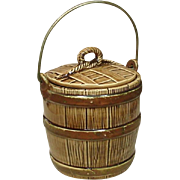 Covered Wooden Barrel with Handle Pottery Cookie Jar