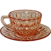 "Pink Depression, Windsor, ""Windsor Diamond"", Jeannette Glass, Cup & Saucer"