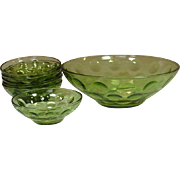 Hazel Atlas Glass, El Dorado, Salad Bowls Set, Avocado Green, 1970's