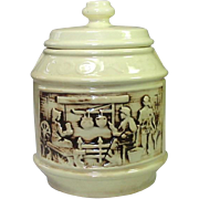 """McCoy Pottery, Cookie Jar, """"The Frontier"""", two rustic scenes"""