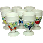 Westmoreland Glass, Beaded Edge, Fruit Decoration, Footed Tumblers, 1950's