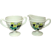 Westmoreland Glass, Beaded Edge, Fruit Decoration, Sugar and Creamer, 1950's