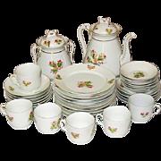 C. H. Haviland China, Moss Rose, Pink, Gold Trim, Tea Pot +, 29 pcs.